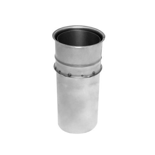Kamino Flam Wandfutter doppelt in Silber, Doppelwandfutter aus feueraluminiertem Stahl, geprüft nach Norm EN 1856-2, mit Rohr der Länge 250 mm, Durchmesser: ca. 150 mm