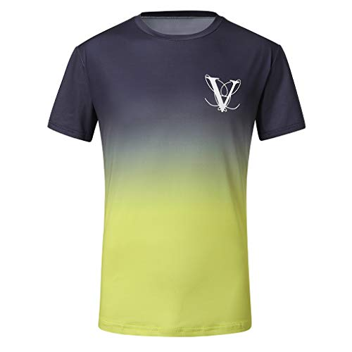 BHYDRY Herrenmode runder Kragen elastische Farbverlauf elliptischen Saum lässig Fitness T-Shirt Kurzarm-Shirt