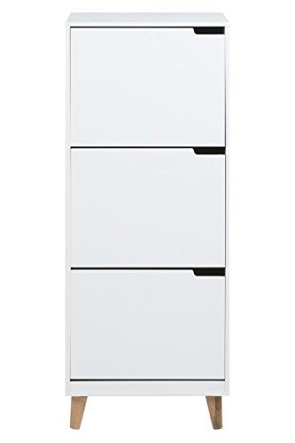 AC Design Furniture Schuhregal Mariela, B: 47 x T:30 x H: 133,5 cm, MDF, Weiss