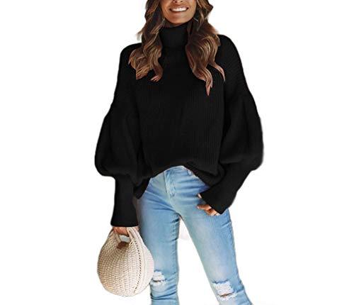 CuteRose Womens Turtleneck Knit Ribbed Fall Winter Puff Sleeve Sweaters Black S -