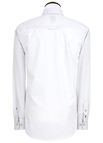 Spieth & Wensky - Slim Line - Herren Trachten Hemd mit Kent Kragen mit farblichen Highlights (240770-0756) Weiß/Grün (2283)
