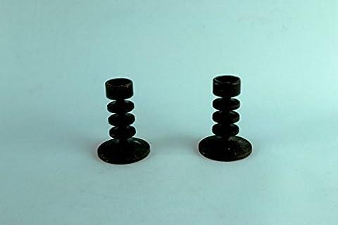 2 Black Cast Iron Candlesticks Robert Welch 1960s Mid Century Modern Vintage