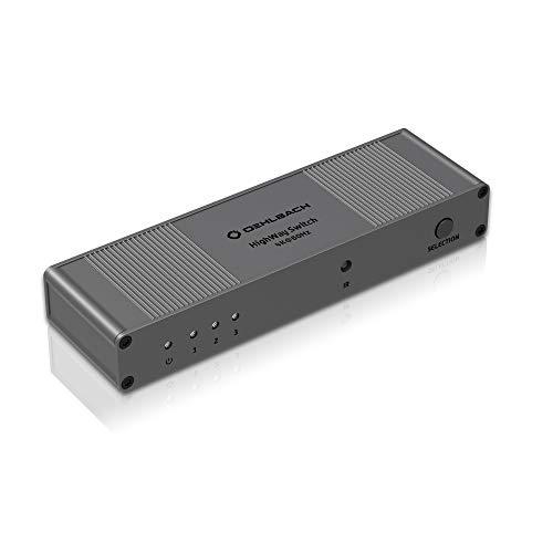 Oehlbach Highway Switch - HDMI 2.0 Verteiler 3:1 - UltraHD HDMI-Adapter mit Fernbedienung (3 In 1 Out Schalter, 4K, HDR, 3D, 1080p, 2160p, UHD, 4K mit 60Hz) - Metallic-braun