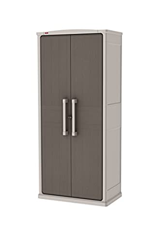 Keter 78.2 x 46.5 x 183 cm Optima Wonder 4-Shelf Plastic Multi-Purpose Tall Cabinet - Brown and