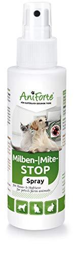AniForte Milben-Stop Spray 100 ml für Hunde, Katzen, Haus- und Hoftiere, Natürliche Abwehr von Insekten, Parasiten und Ungeziefer -