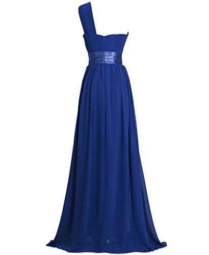 GEORGE BRIDE Ein Shoulder Chiffon Lang Abendkleid Ballkleid Sapphire Blue
