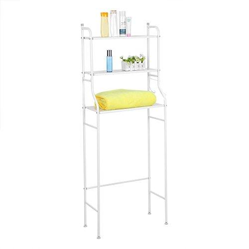 3-Tier Toilettenregal Waschmaschinenregal Badezimmer Waschraum Standregal Allzweckregal (weiß)