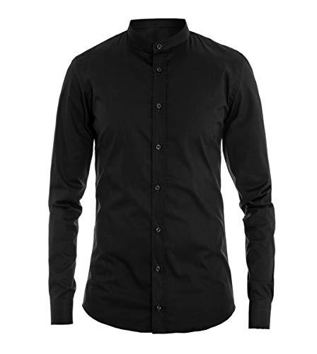 Giosal camicia uomo collo coreano tinta unita nera slim cotone akirò casual nero-m