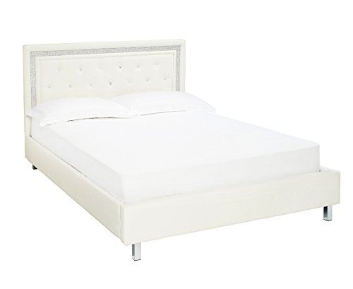 New Castello Crystal Designer Faux Leather Diamante Bed Frame Available in Black or White 4ft6 Double & 5ft King By Limitless Base (White, 5ft King)