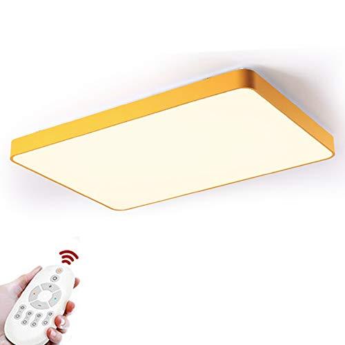 Topdeng moderno plafoniera rettangolare, led 96w nordico minimalista giallo lampada da soffitto dimmerabile incasso sottile acrilico plafoniera luce-oscuramento 88x63cm-96w