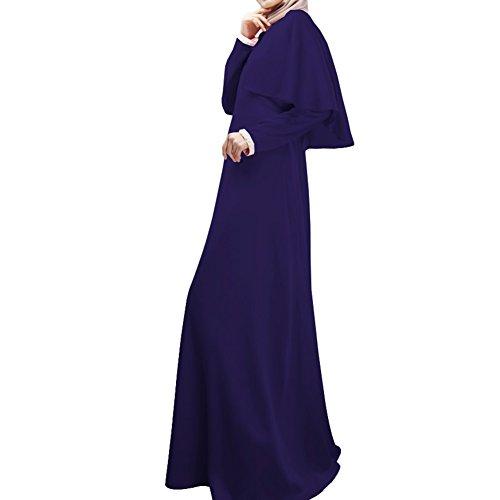 Highdas les femmes musulmanes à manches longues manteau robe couleur unie de grande taille robe de maix abaya Bleu foncé