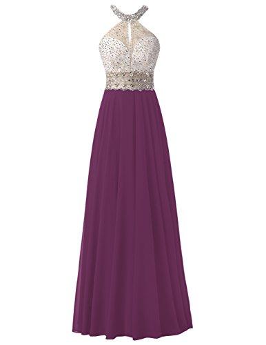 Dresstells Bodenlang Chiffon Abendkleider Rückenfrei Ballkleider Grape