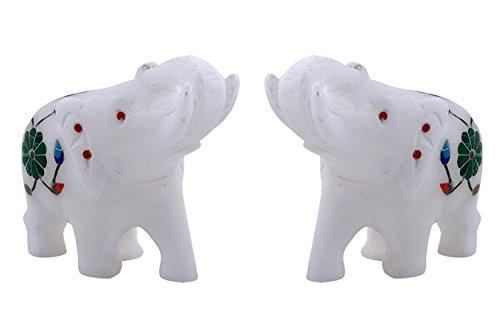Hashcart Elefant Figuren, Statue in weiß Marmor für Home Décor, Geschenk Set von 2 -