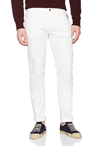 Replay Herren Slim Jeans Anbass, Weiß (White 1), W32/L30 (Denim-shorts Verschönert)