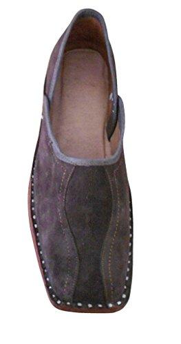 kalra Creations hommes de mojaries indien traditionnel en cuir Flâneur Appartements Marron