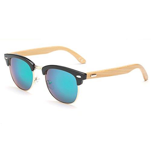 VeBrellen Gafas de sol de Madera Marco Semi-sin Rebordes gafas YJ069 (Black...