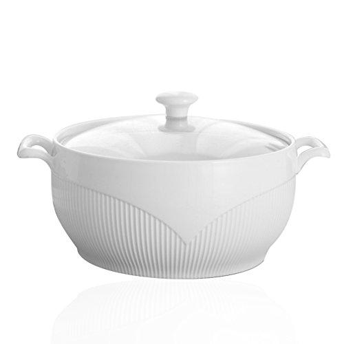 BAKOU Soupière relief Blanc pur en céramique à soupe protégé par Pot Couvercle Poignée double Bol en céramique Cuisine Porcelaine Bol pour micro-ondes - 27.5CM*14.5CM