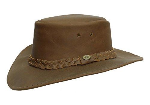 Original Bushranger Outdoor Lederhut mit formbarer Krempe | geflochtenes Leder Hutband mit Kakadu...
