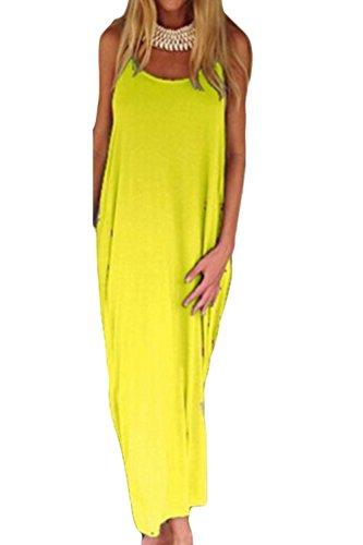 Le Donne Si Piazza Al Collo Senza Maniche Spalline Tunica Maxi Vestito Scollato Yellow