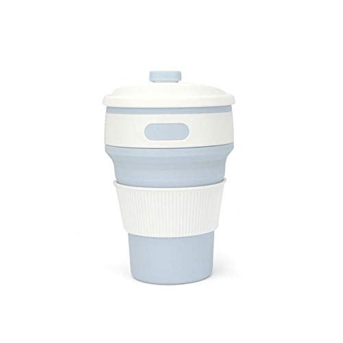 HHOME New Folding Silicone Coffee Cups 350ml Portable Telescopic Drinking Collapsible Coffee Tea Cup Multi-Function Folded Travel Cup,Light Blue Cups Light Blue Cup