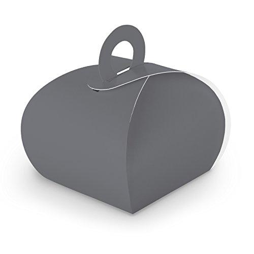 50x itenga GeschenkSchachtel aus Karton zum Befüllen (Adventskalender Gastgeschenk, Hochzeit Taufe Geburt) (Box mit Griff, grau)