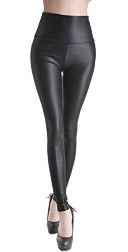 ZIOOER Mujeres PU Leggins Cuero Skinny Elásticos Leggings Pantalones Negro S