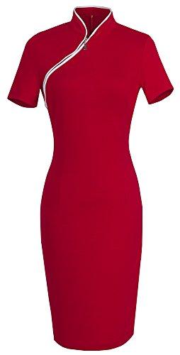 HOMEYEE Vestito longuette manica corta Classic Slim Fit chiusura lampo anteriore delle donne B60 Rosso