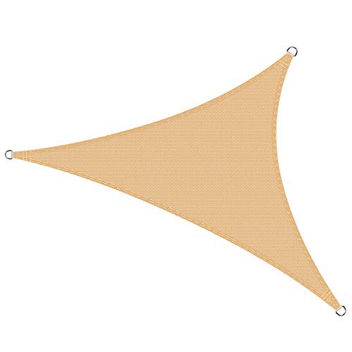 Cool area tenda a vela triangolare 5 x 5 x 5 metri protezione raggi uv, resistente e traspirante, colore sabbia