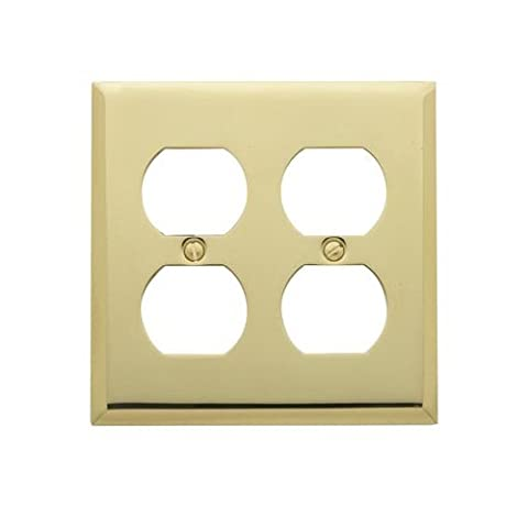 Baldwin 4771.030.CD Classic Square Beveled Edge Double Duplex Switch Plate, Polished Brass - Lacquered by