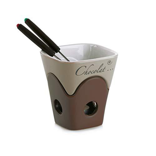 MamboCat 4-TLG. Schokofondue-Set Dolce | 2 Pers. | Käse-Fondue braun | stapelbare Keramik-Schalen + Edelstahl-Gabeln mit Kunststoff-Griff | edles Design