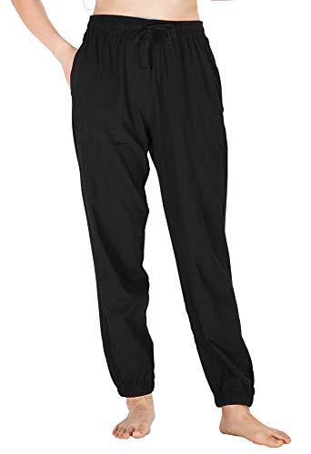 WEWINK CUKOO Damen Baumwolle Pyjamahosen Schlafanzughose Pant Jogginghosen Nachtwäsche Knöchellänge Hosen mit Taschen -