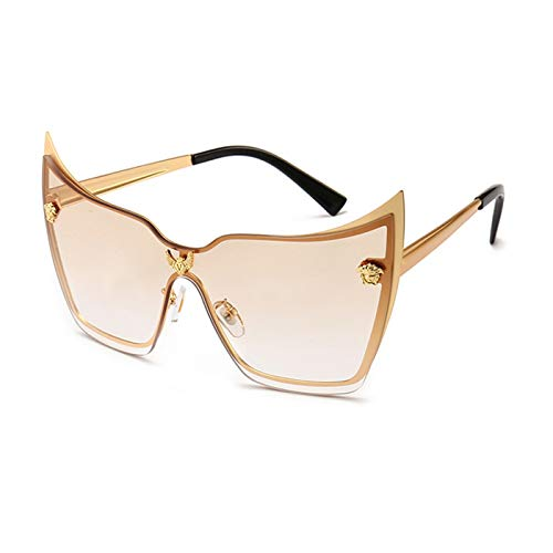 Daawqee New Women's Large Sunglasses Cat Eye Designer Fashion Big Glasses UV400 A500 C4-Gold-Linght Brown