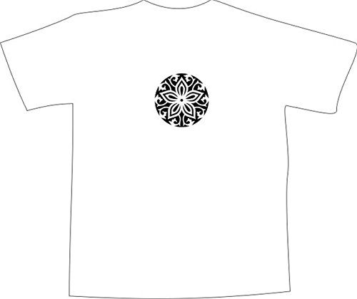 T-Shirt E1136 Schönes T-Shirt mit farbigem Brustaufdruck - Logo / Grafik / Design - abstraktes Ornament mit schönen Ranken und Blättern Weiß