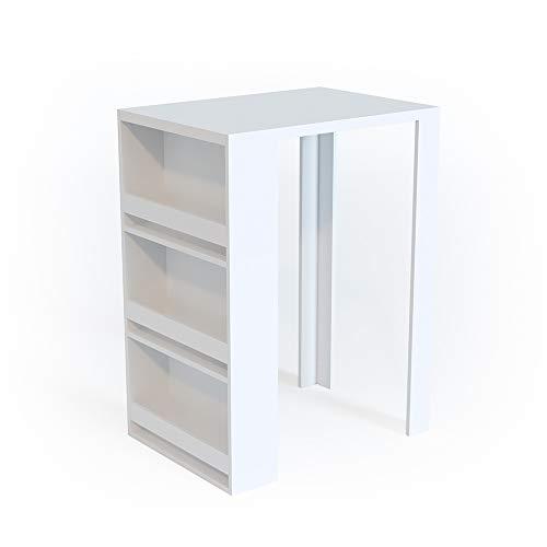Vicco Bartisch Bar Weiß Tresen Bartresen Stehtisch Tisch Tresentisch Bistrotisch Küche mit 3 extra Fächern