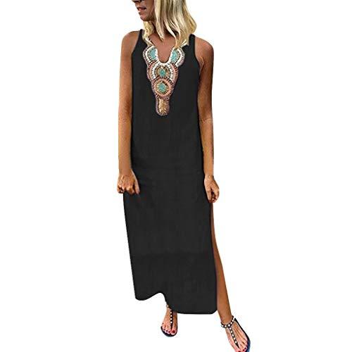 Lonshell Damen Kaftan Sleeveless Leinen Lange Hemd Kleid Ethnic Print Boho Maxi Kleid Long Dress Blusen Sommerkleid V-Ausschnitt Tunika Strandkleider