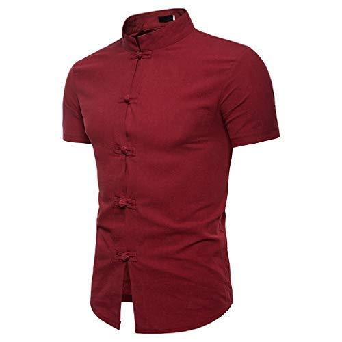 T-Shirts Herren Lässige Sommer chinesische Einfarbig Kurzarm Hemd Stehkragen T-Shirt Top Bluse Regular Slim fit Pullover Wein Shirt