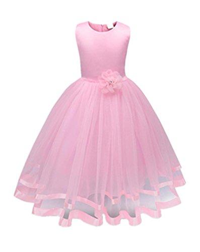 tyi Mädchen Kleider High-End-Kleid einfarbig Blumen lange Prinzessin Kleid Blumenmädchen Prinzessin Kleid Festzug Tüll Kleid Party Brautkleid (Rosa, 3T/110CM) (Kostüme Für Kinder Prinzessin)