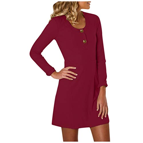 Plus Size Superhero Kleid - ❤Inawayls Damen Casual T-Shirt Kleider Einfarbig