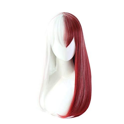 NIUJF Perücke Fasching Glattes Haar Wig Zweifarbig Lang Mit Pony Für Frauen Damen Karneval Cosplay Party Kostüm (Hippie Make Up Und Haare)