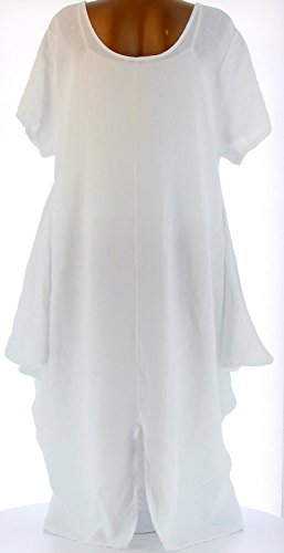 Charleselie94® - Robe longue pur lin grande taille bohème création blanc DANIELLA BLANC Blanc