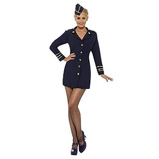 Fancy Ole - Damen Frauen Frauen Flugbegleiterin Stewardessen Kostüm mit Kleid und Mütze, perfekt für Karneval, Fasching und Fastnacht, S, Blau