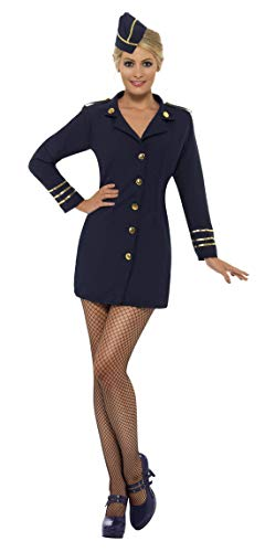 Fancy Ole - Damen Frauen Frauen Flugbegleiterin Stewardessen Kostüm mit Kleid und Mütze, perfekt für Karneval, Fasching und Fastnacht, M, Blau