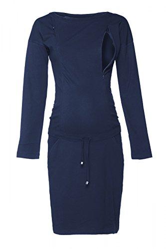 Happy Mama. Damen 2in1 Umstands Still Sweatshirt-Kleid Lange Ärmel Taschen. 709p (Marine, EU 38, S)