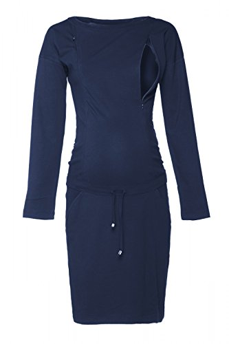 HAPPY MAMA. Femme Robe Sweat-Shirt Allaitement Maternité Manche Longue. 709p (Marine, EU 40, M)