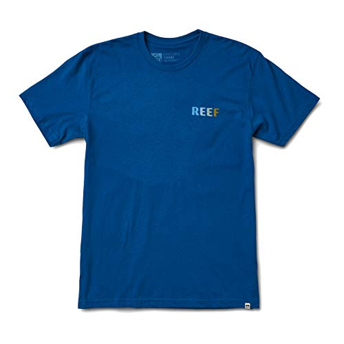 Reef Circle Tee Shirt with Front Screen Print Set in Collar Made of Cotton in Blue - X / XL