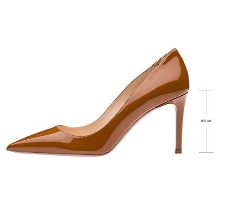 Guoar - Scarpe chiuse Donna Braun Lack