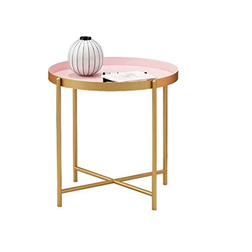 RJJX Home Couchtisch Haus Schlafzimmer Wohnzimmer Modernes Nordic Metall Tray kleine runder Tisch Beistelltisch Sofa Wohnzimmer Carbon Steel Art einfaches Elegantes Möbel (Color : L) -