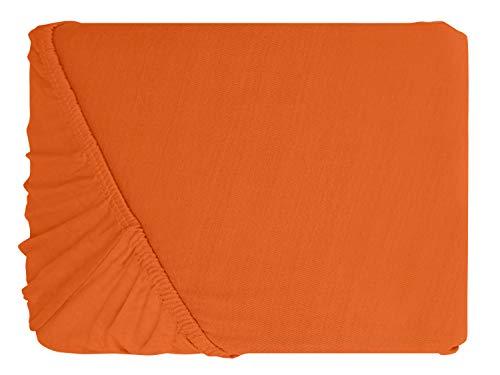 npluseins klassisches Jersey Spannbetttuch – erhältlich in 34 modernen Farben und 6 verschiedenen Größen – 100% Baumwolle, 90-100 x 200 cm, terrakotta - 2