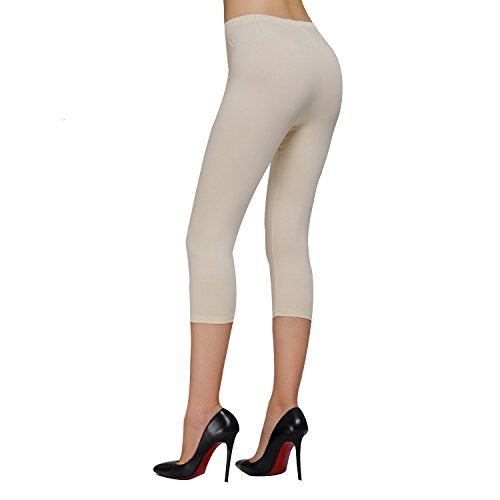 DIAMONDKIT Cotton Stretch Capri Leggings Damen Crop gesäumt Beige - Oat