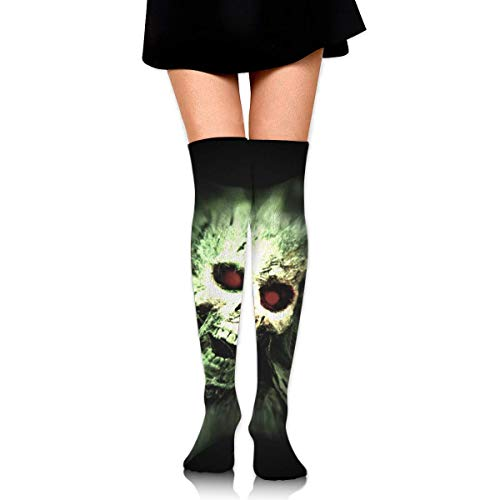 HRTSHRTE Halloween Scream Skull Human Remains Death Skeleton Ankle Stockings Over The Knee Sexy Womens Sports Athletic Soccer Socks